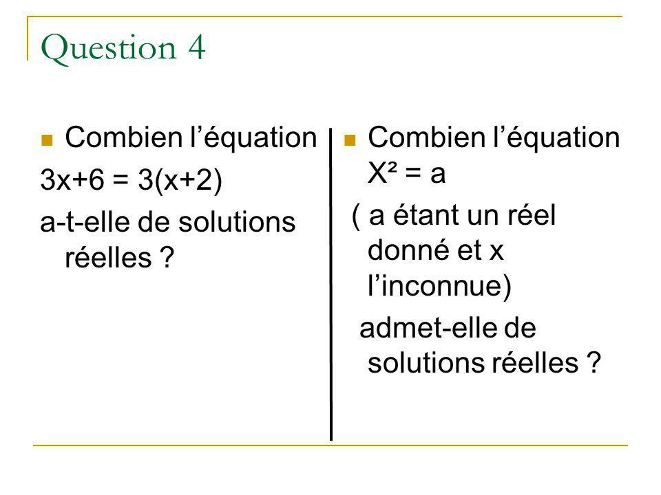 Question 4 Combien l'équation 3x+6 = 3(x+2)