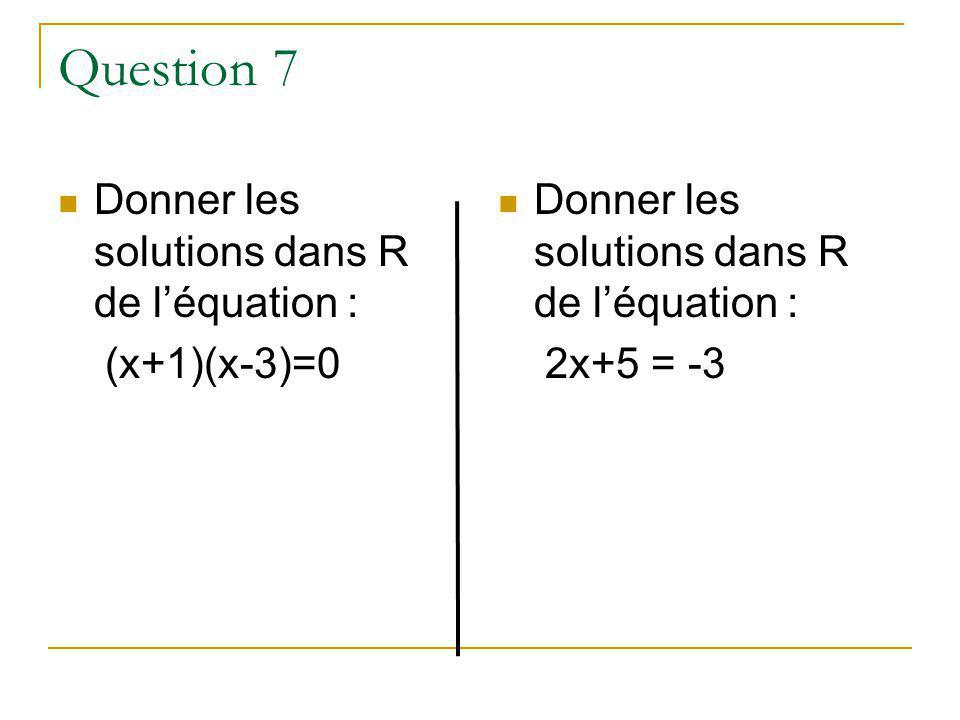 Question 7 Donner les solutions dans R de l'équation : (x+1)(x-3)=0