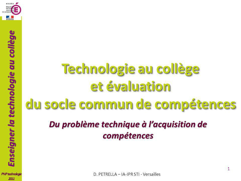Technologie au collège et évaluation du socle commun de compétences