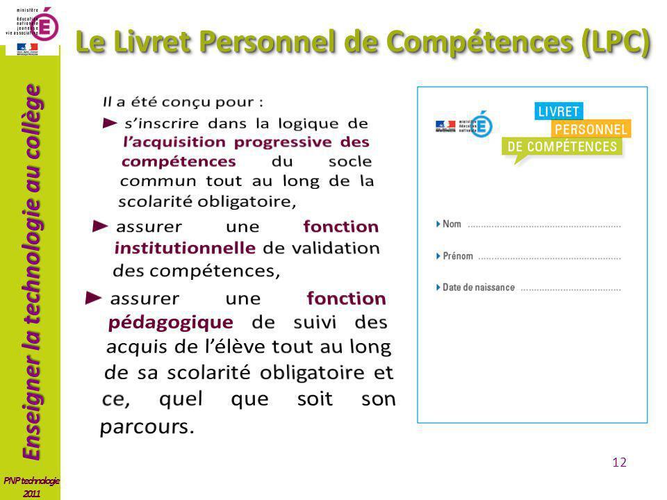 Le Livret Personnel de Compétences (LPC)