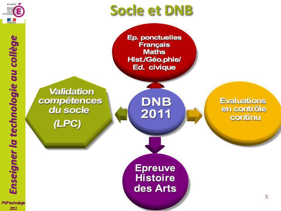 Socle et DNB DNB 2011 Validation compétences du socle (LPC)