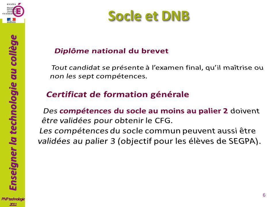 Socle et DNB Diplôme national du brevet