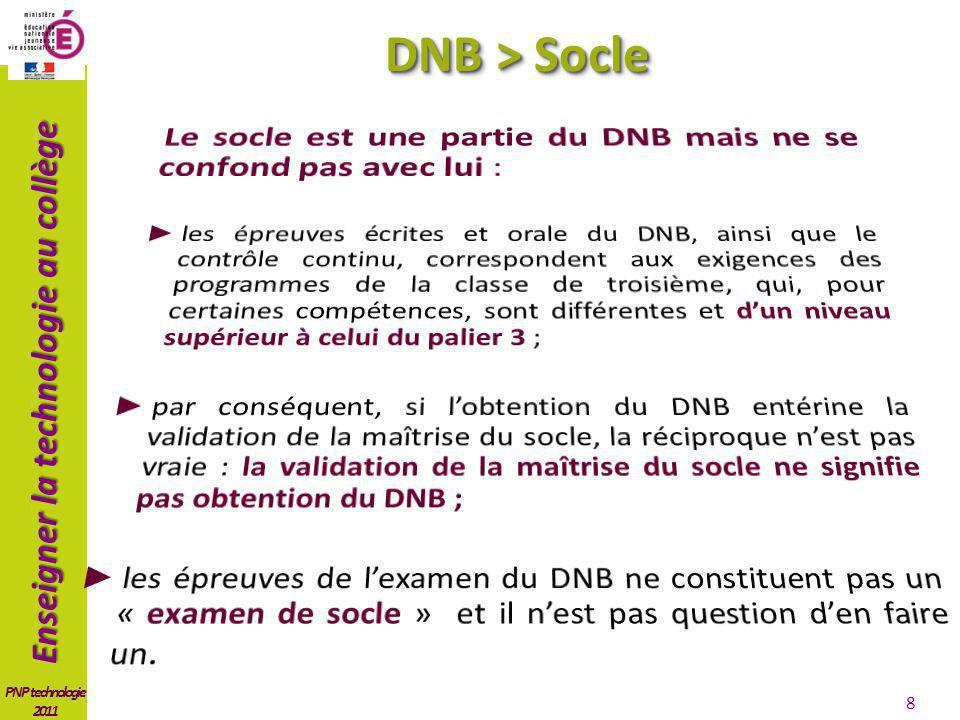DNB > Socle Le socle est une partie du DNB mais ne se confond pas avec lui :