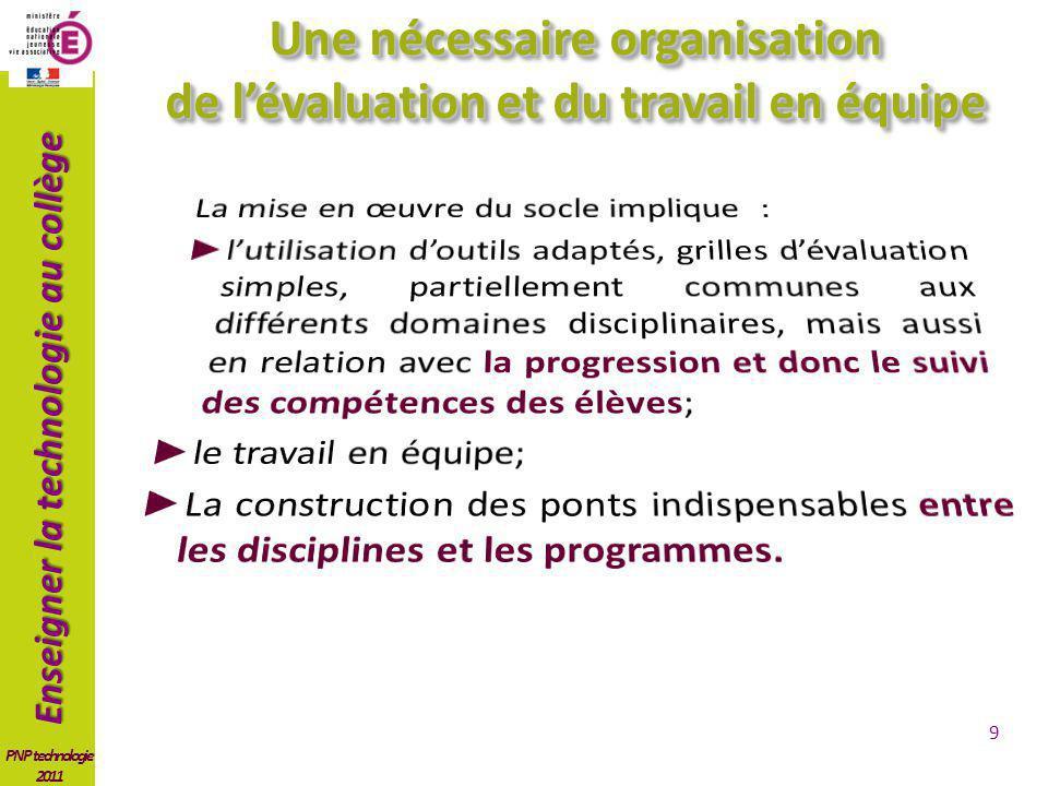 Une nécessaire organisation de l'évaluation et du travail en équipe