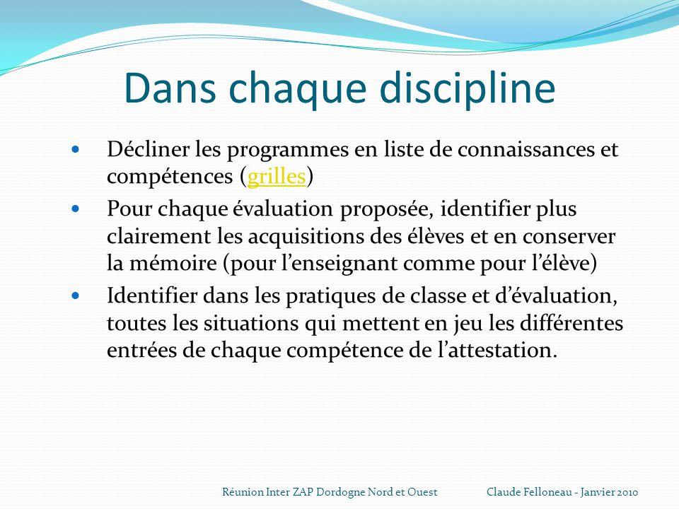 Dans chaque discipline