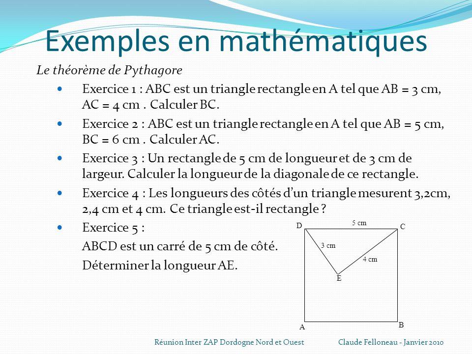 Exemples en mathématiques