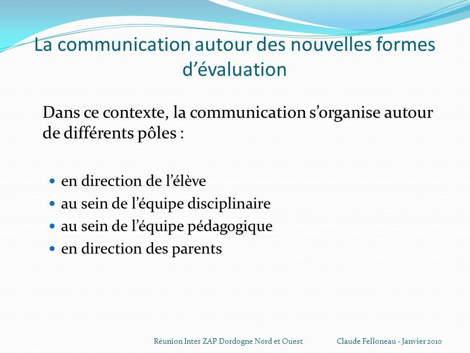 La communication autour des nouvelles formes d'évaluation
