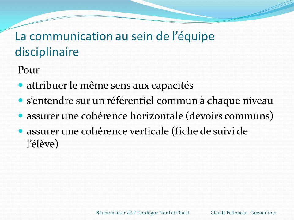 La communication au sein de l'équipe disciplinaire