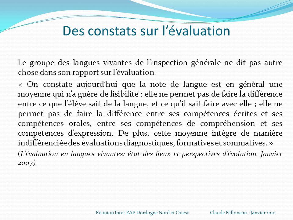 Des constats sur l'évaluation