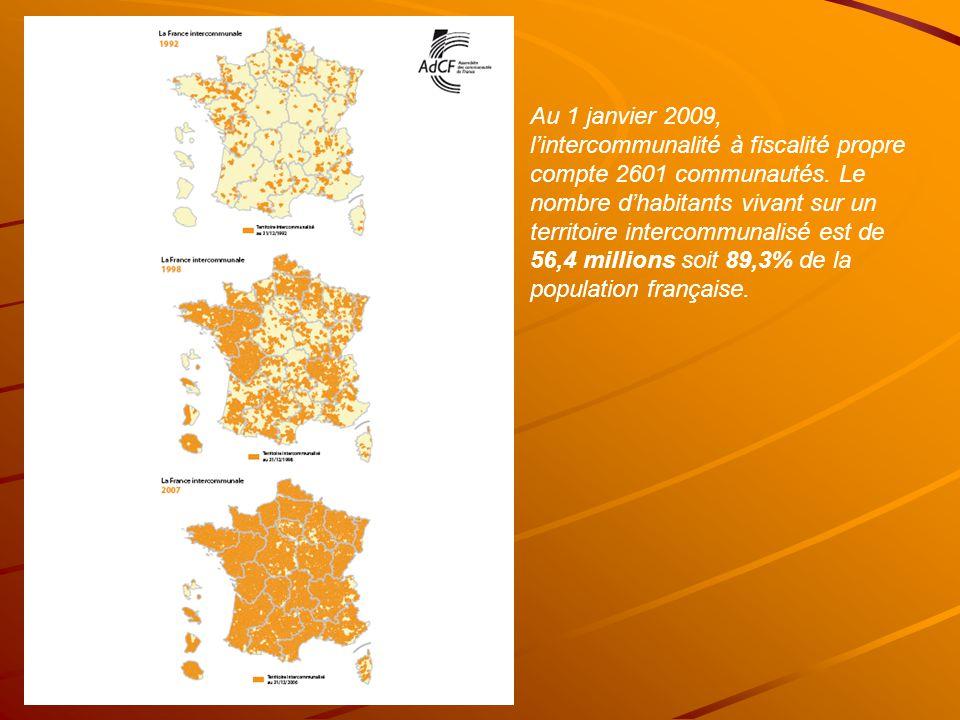 Au 1 janvier 2009, l'intercommunalité à fiscalité propre compte 2601 communautés.