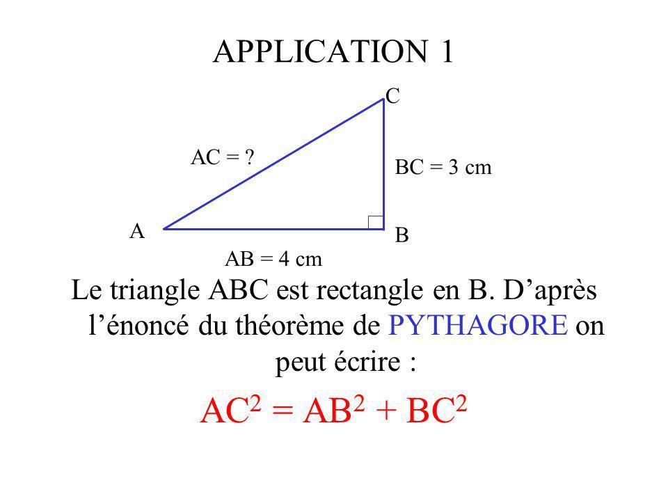 APPLICATION 1 C. AB = 4 cm. BC = 3 cm. AC = A. B.