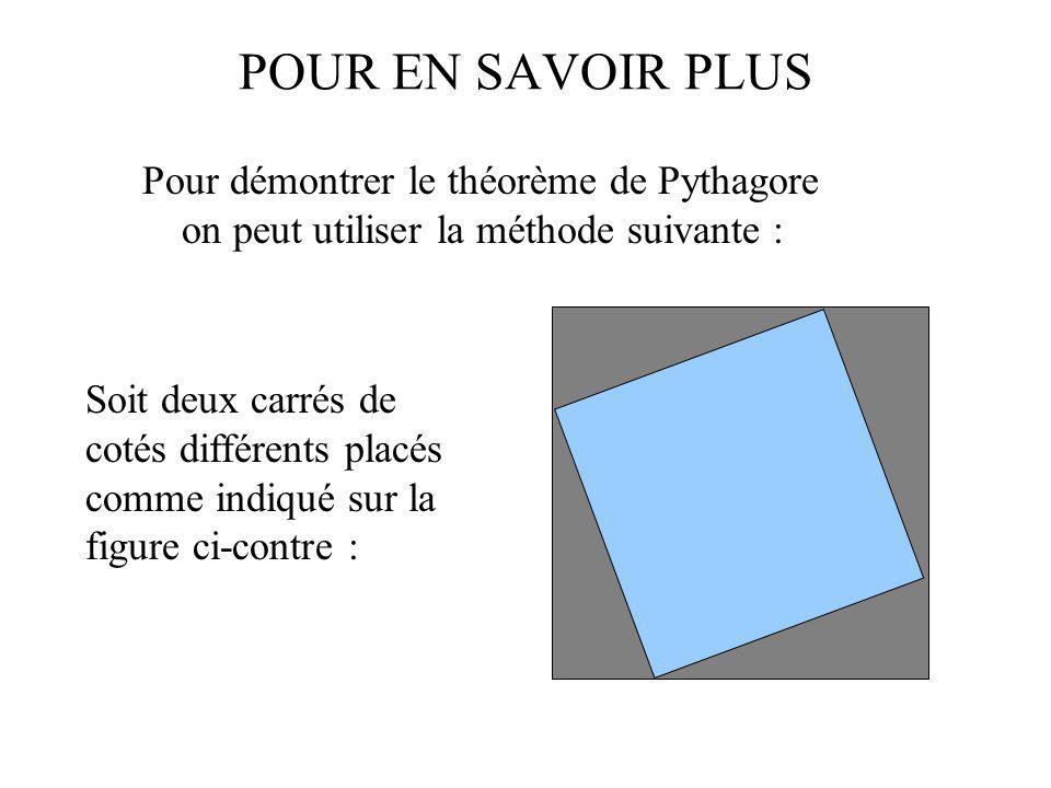 POUR EN SAVOIR PLUS Pour démontrer le théorème de Pythagore on peut utiliser la méthode suivante :