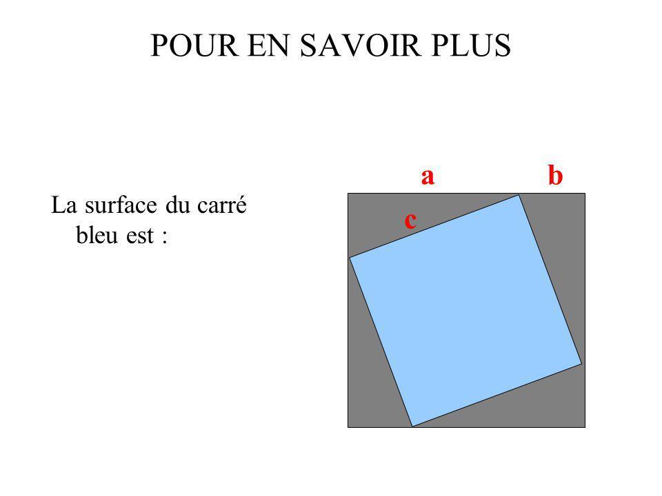 POUR EN SAVOIR PLUS La surface du carré bleu est : a b c