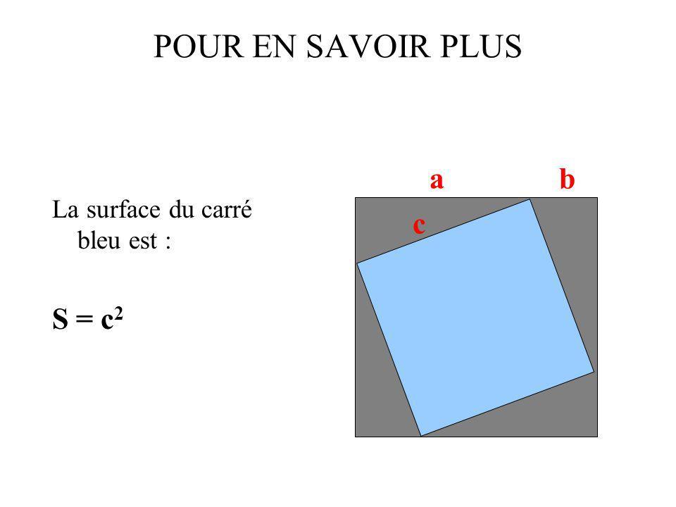 POUR EN SAVOIR PLUS La surface du carré bleu est : S = c2 a b c