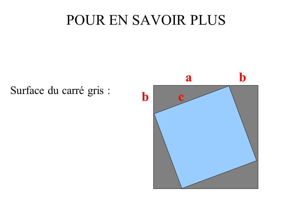 POUR EN SAVOIR PLUS Surface du carré gris : a b b c
