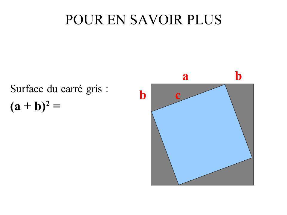 POUR EN SAVOIR PLUS Surface du carré gris : (a + b)2 = a b b c