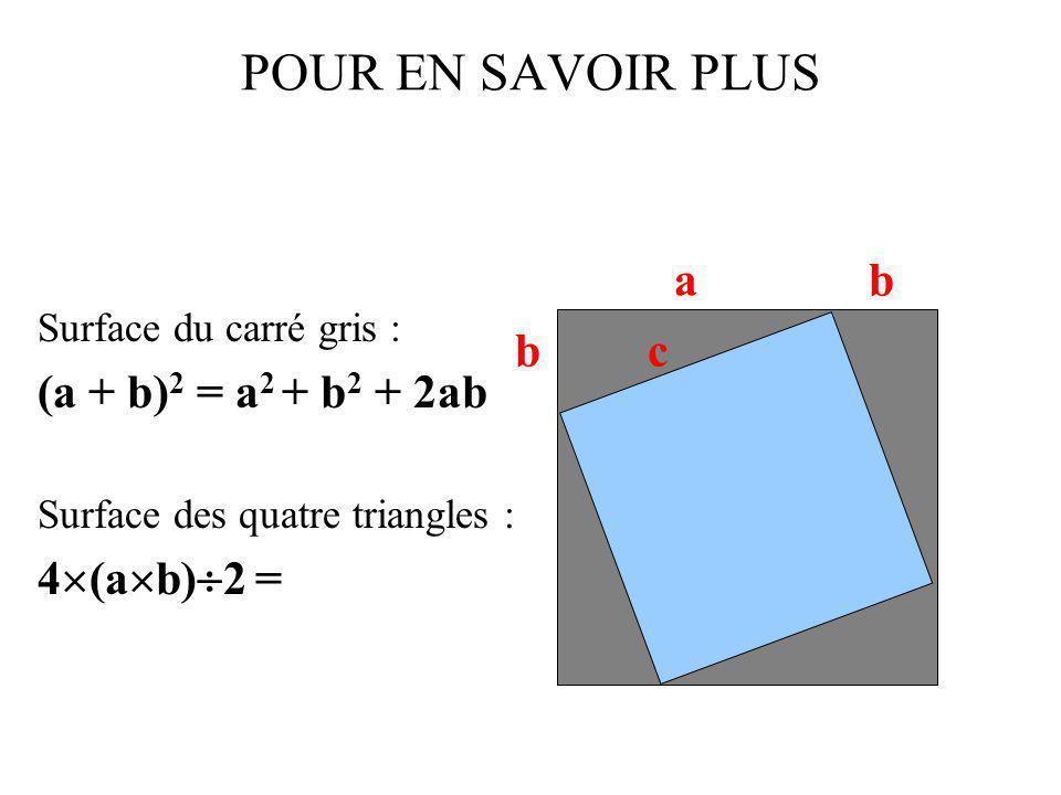 POUR EN SAVOIR PLUS (a + b)2 = a2 + b2 + 2ab 4(ab)2 = a b b c