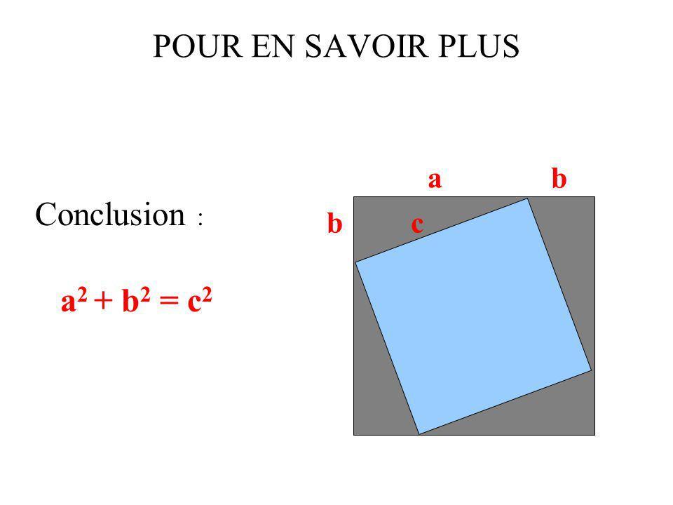 POUR EN SAVOIR PLUS Conclusion : a2 + b2 = c2 a b b c