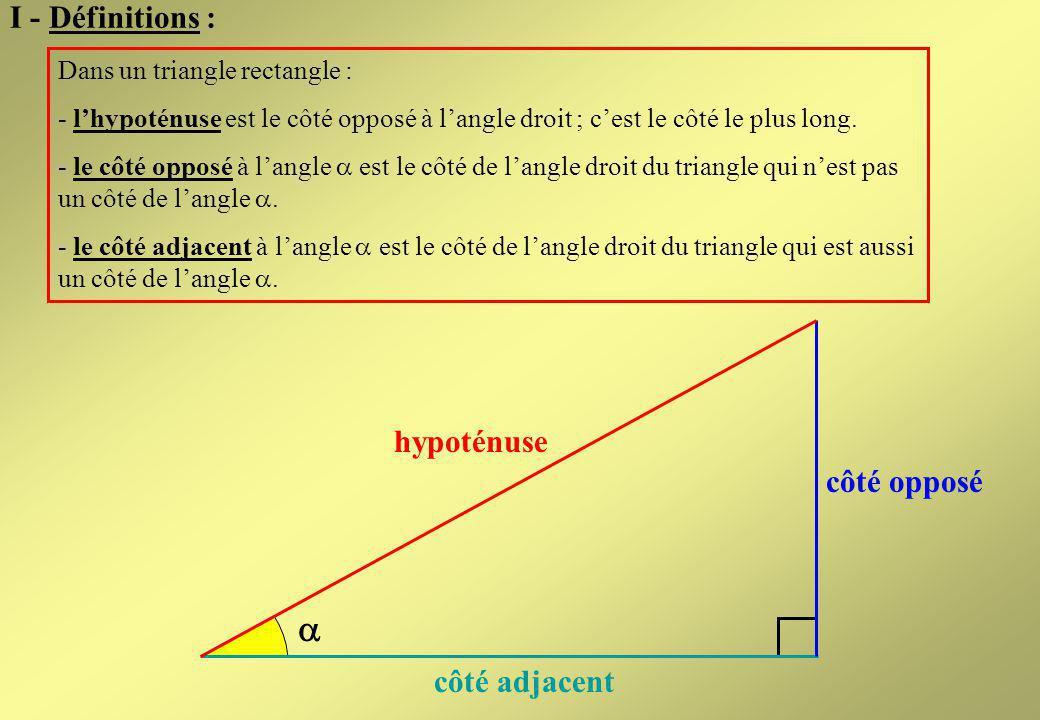  I - Définitions : hypoténuse côté opposé côté adjacent