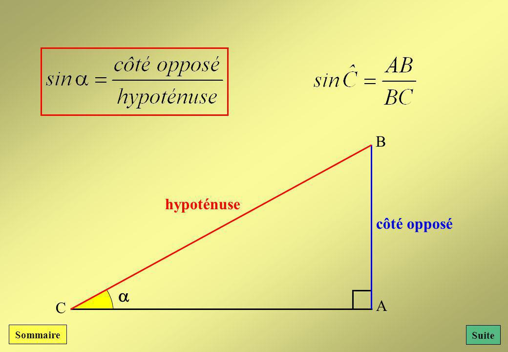 B hypoténuse côté opposé  C A Sommaire Suite