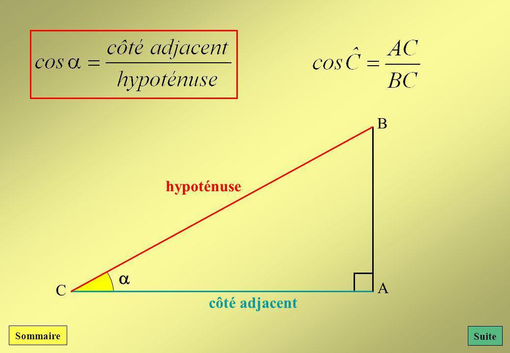 B hypoténuse  C A côté adjacent Sommaire Suite