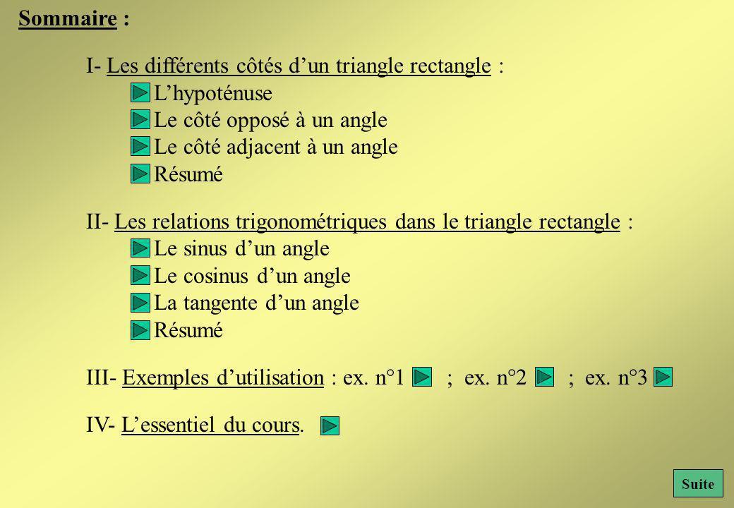 I- Les différents côtés d'un triangle rectangle : L'hypoténuse