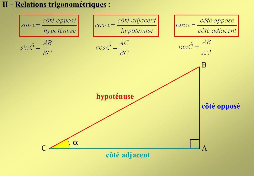  II - Relations trigonométriques : B hypoténuse côté opposé C A