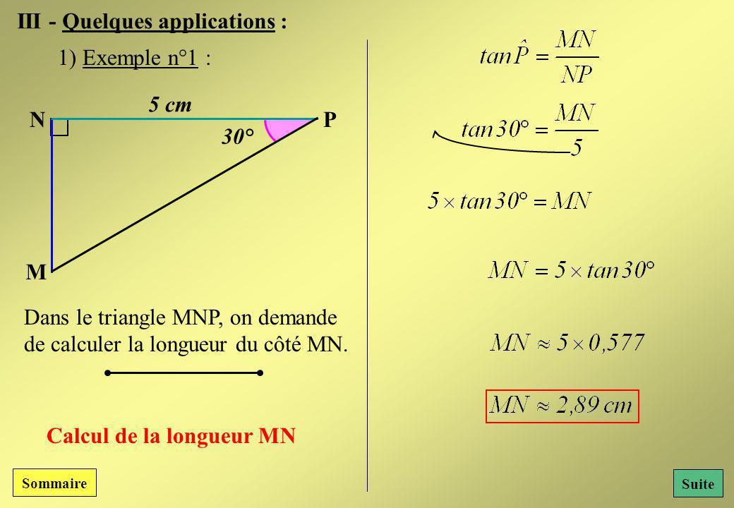 III - Quelques applications :
