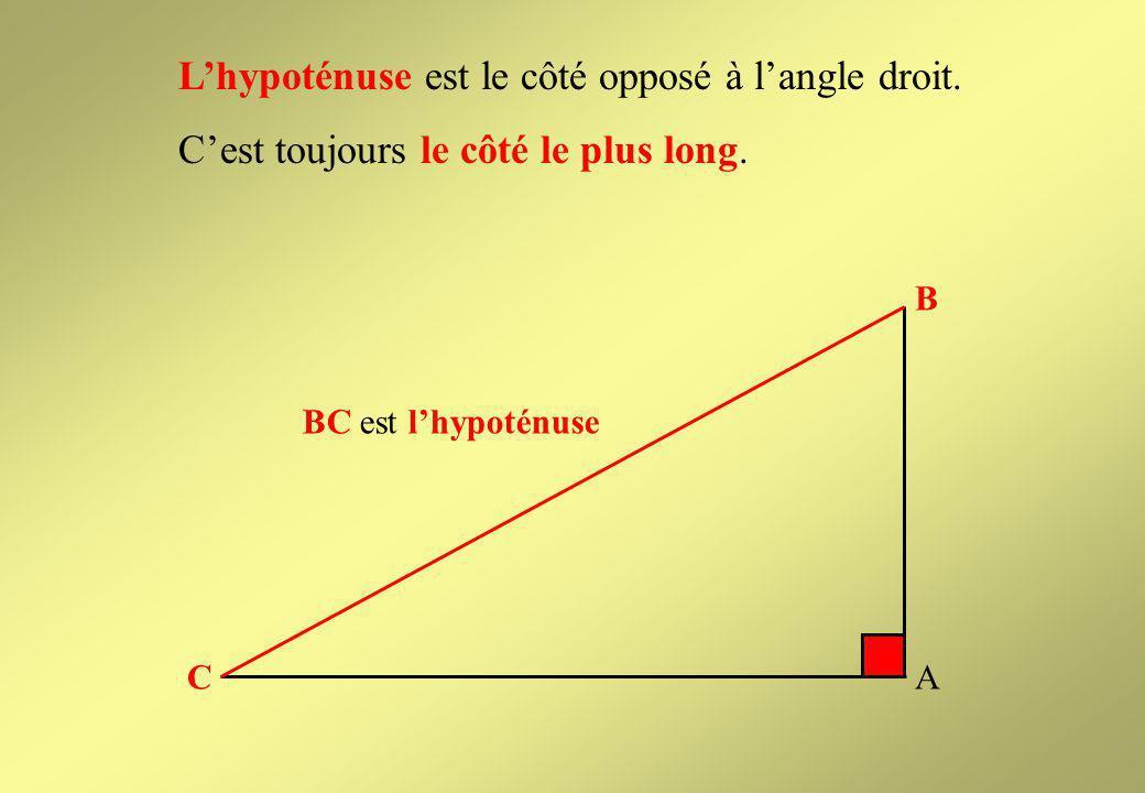 L'hypoténuse est le côté opposé à l'angle droit.