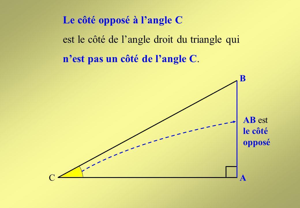 Le côté opposé à l'angle C