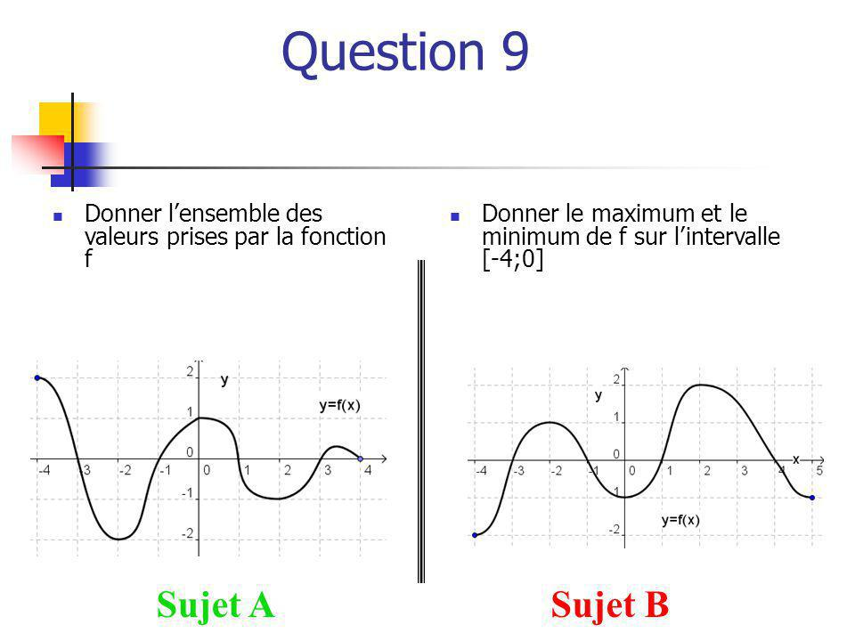 Question 9 Sujet A Sujet B
