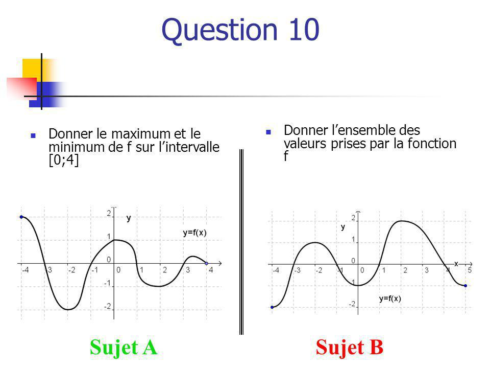 Question 10 Sujet A Sujet B
