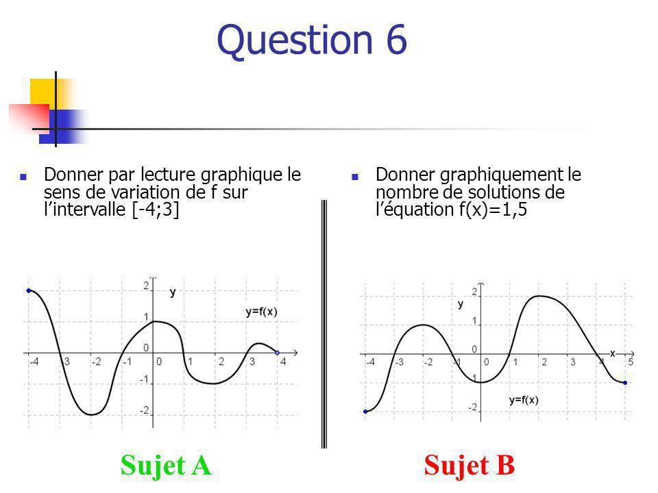 Question 6 Sujet A Sujet B