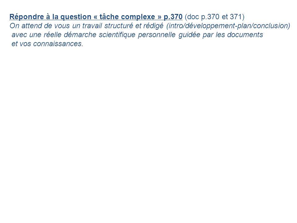 Répondre à la question « tâche complexe » p.370 (doc p.370 et 371)