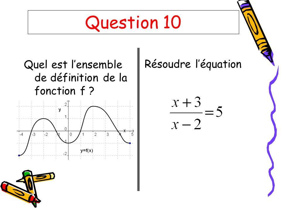 Question 10 Quel est l'ensemble de définition de la fonction f