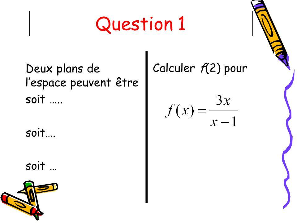 Question 1 Deux plans de l'espace peuvent être Calculer f(2) pour