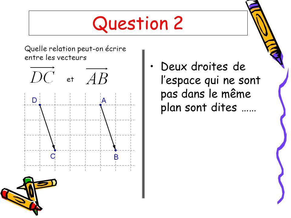 Question 2 Quelle relation peut-on écrire entre les vecteurs.