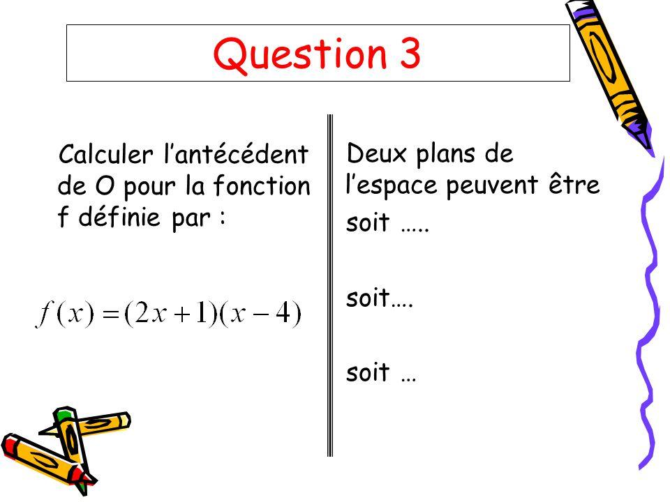 Question 3 Calculer l'antécédent de O pour la fonction f définie par :