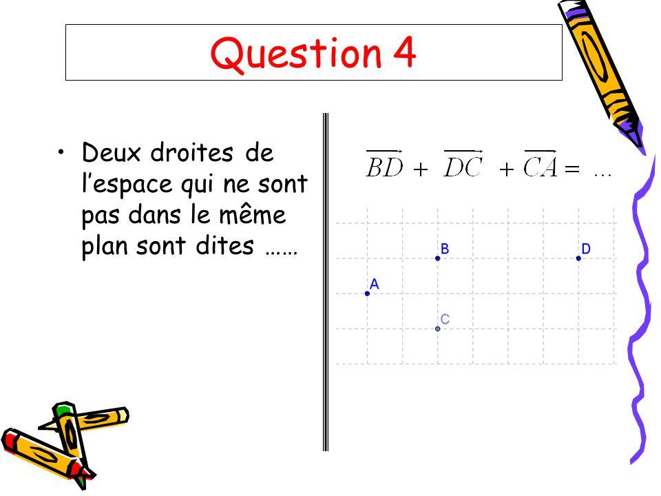 Question 4 Deux droites de l'espace qui ne sont pas dans le même plan sont dites ……