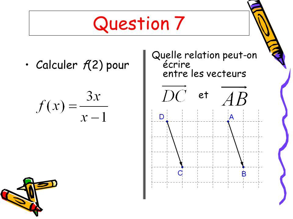 Question 7 Calculer f(2) pour
