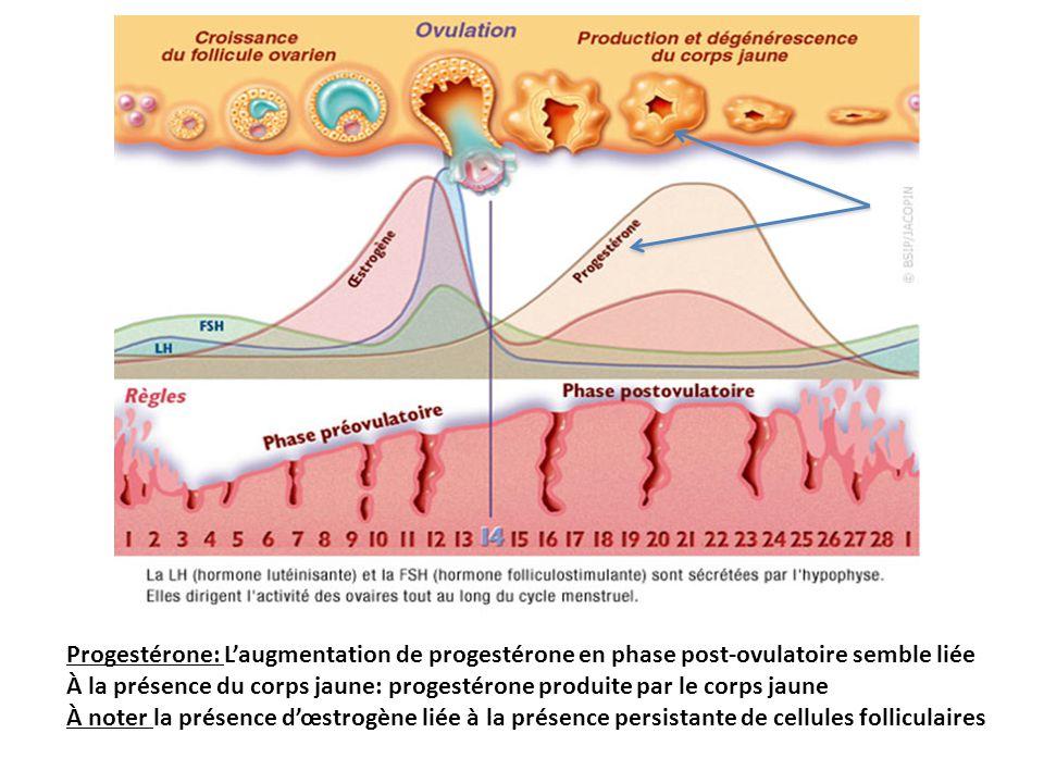 Progestérone: L'augmentation de progestérone en phase post-ovulatoire semble liée