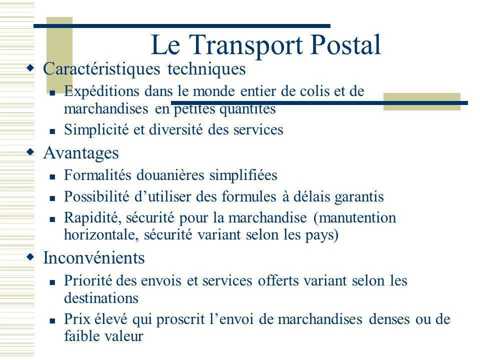 Le Transport Postal Caractéristiques techniques Avantages