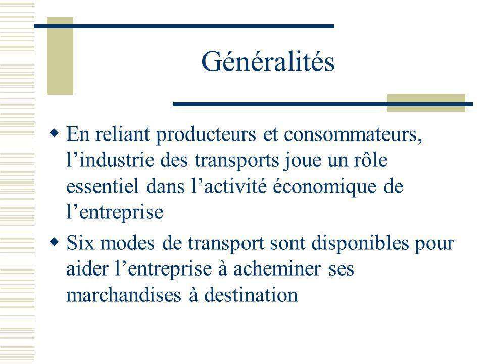 Généralités En reliant producteurs et consommateurs, l'industrie des transports joue un rôle essentiel dans l'activité économique de l'entreprise.