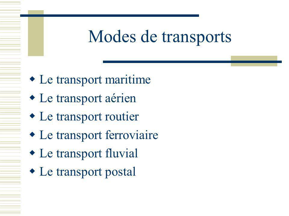 Modes de transports Le transport maritime Le transport aérien