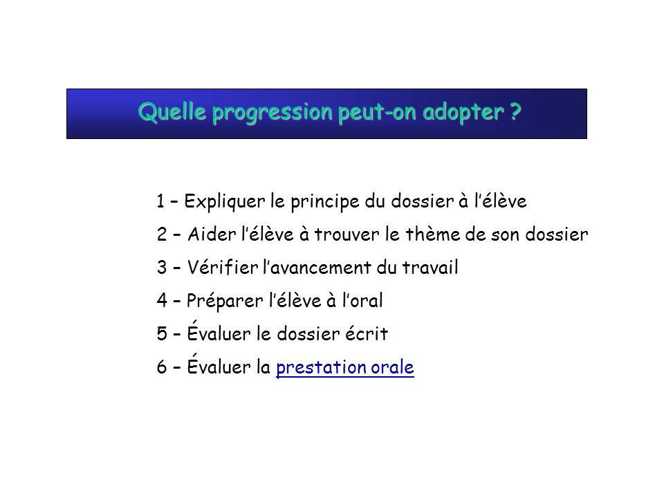 Quelle progression peut-on adopter
