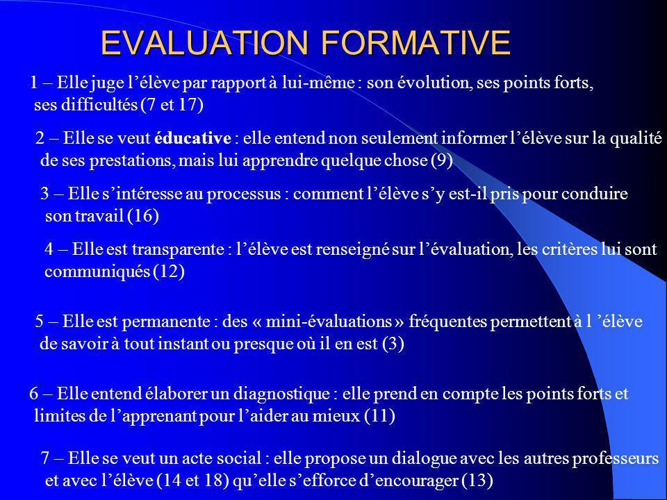 EVALUATION FORMATIVE 1 – Elle juge l'élève par rapport à lui-même : son évolution, ses points forts,