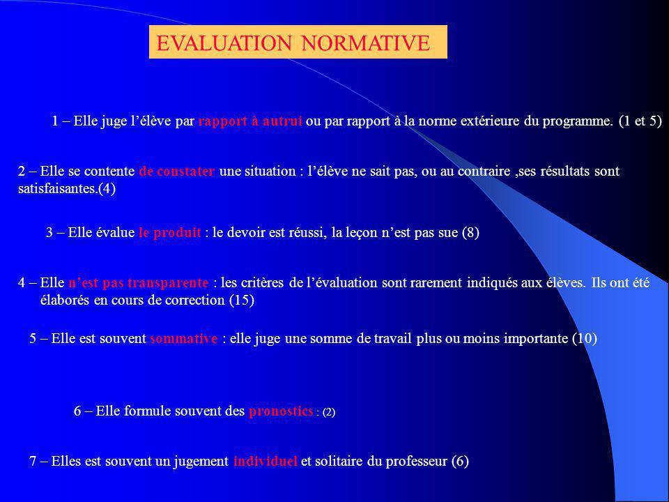 EVALUATION NORMATIVE 1 – Elle juge l'élève par rapport à autrui ou par rapport à la norme extérieure du programme. (1 et 5)