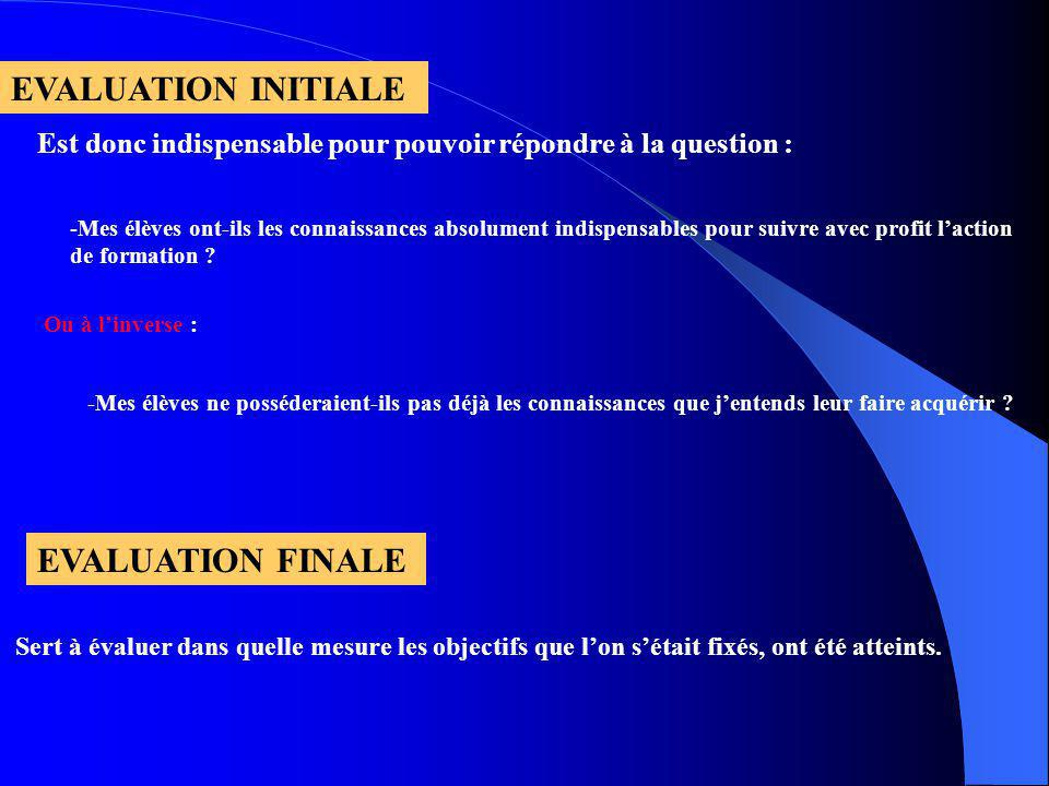 EVALUATION INITIALE EVALUATION FINALE