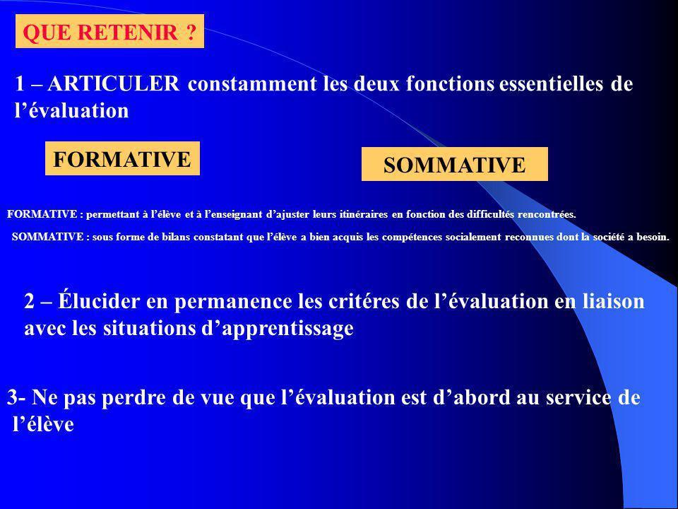 1 – ARTICULER constamment les deux fonctions essentielles de