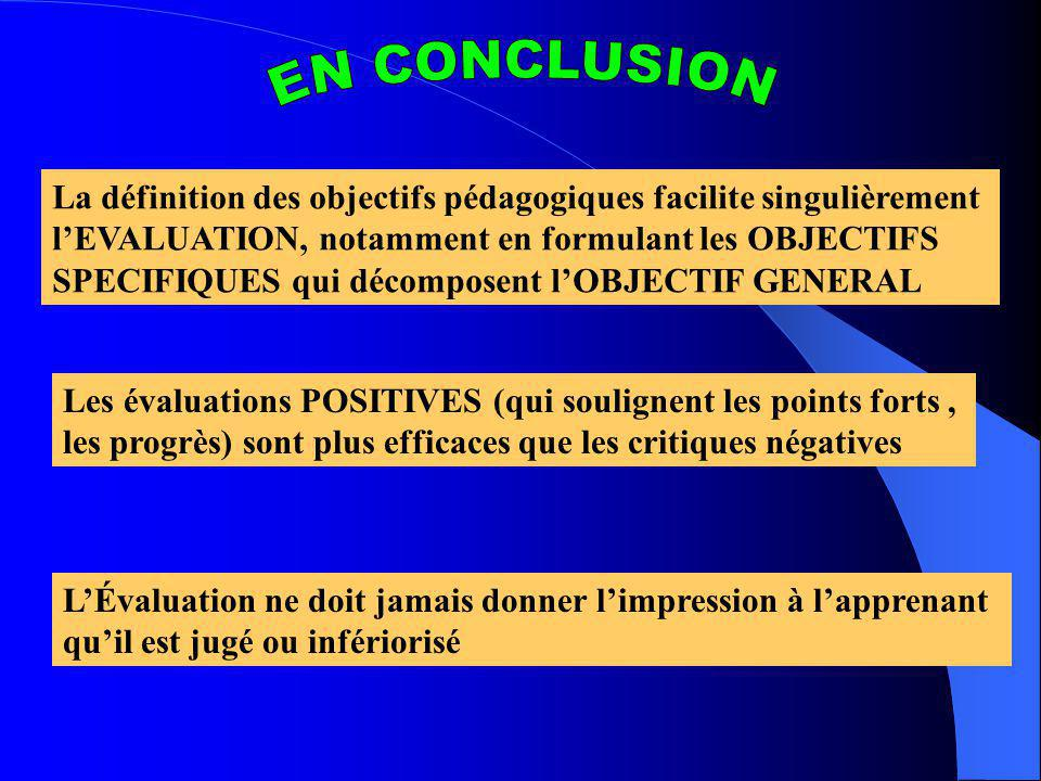 EN CONCLUSION La définition des objectifs pédagogiques facilite singulièrement. l'EVALUATION, notamment en formulant les OBJECTIFS.
